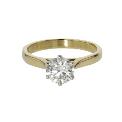 Diamond Rings Yellow Gold Solitaire 1.04ct. Diamond Ring