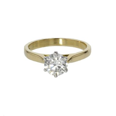 Yellow Gold Solitaire 1.04ct. Diamond Ring