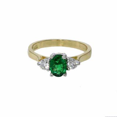 Diamond and Emerald Yellow Gold Ring