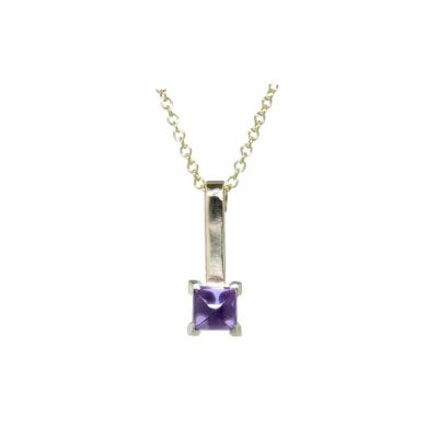 Gold Pendants 9ct. Gold Pendant with Cabochon Cut Amethyst
