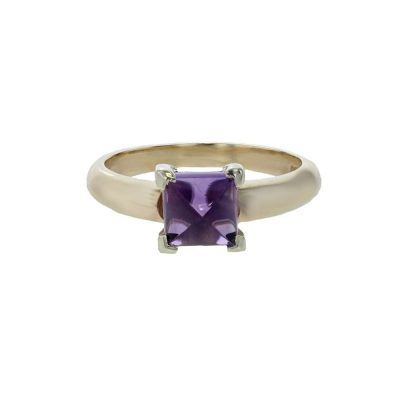 Dress Rings 9ct. Gold Ring with Cabochon Cut Amethyst