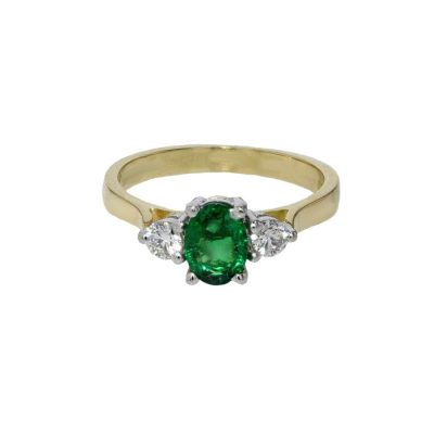 Diamond Rings Diamond and Emerald Yellow Gold Ring