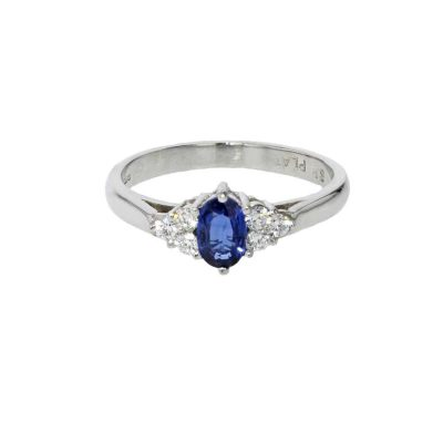 Diamond Rings Sapphire and Diamond Platinum Ring