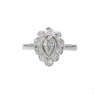 Diamond Rings Pear shaped Diamond Cluster Ring