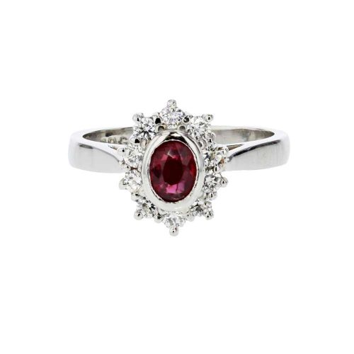 Diamond Rings Platinum Ring with Bezel set Ruby