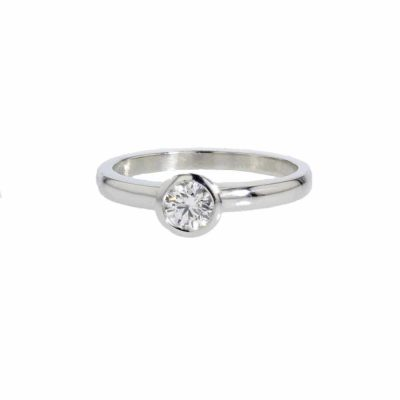 Diamond Rings Platinum Solitaire Bezel set Ring