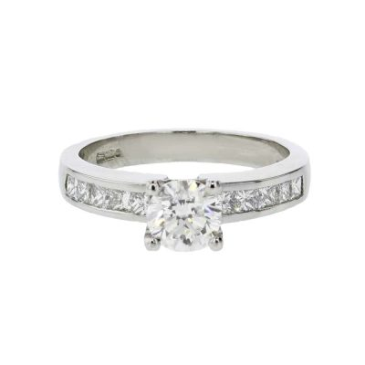 Diamond Rings Platinum Diamond Ring, Channel set Shoulders
