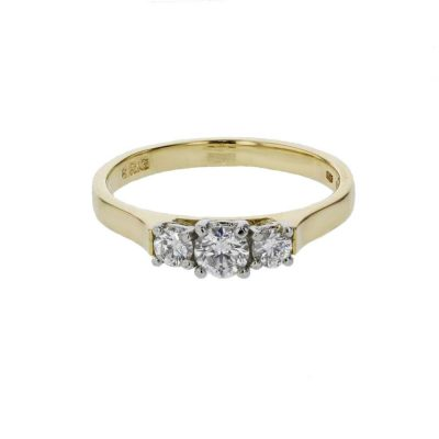 Diamond Rings 18ct. Yellow Gold, 3 Stone Diamond Ring