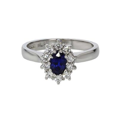 Diamond Rings Sapphire and Diamond Cluster Ring