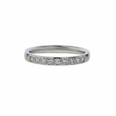 Rings Platinum Wedding Ring, 9 Pavé Diamonds