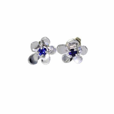 9ct. White Gold Burren Flowers Earrings