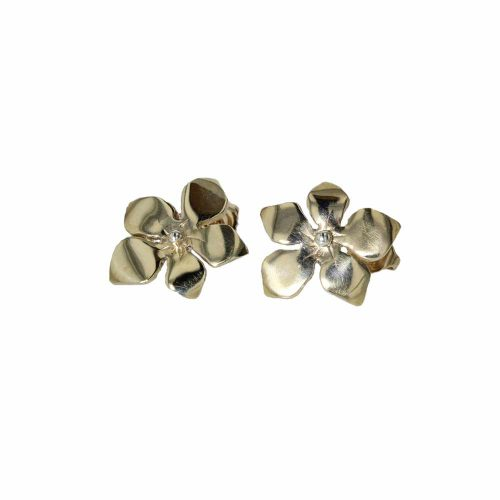 Burren Collection 9ct. Yellow Gold Burren Flower Earrings with Gold Bead