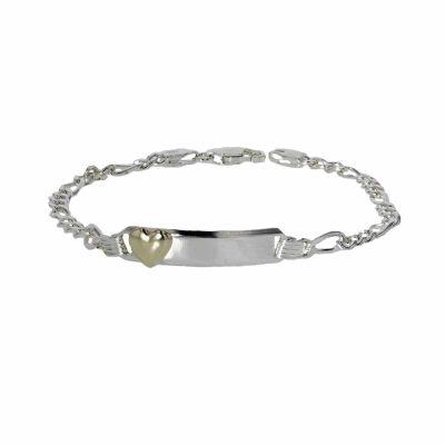 Bracelets Sterling Silver ID Bracelet with 9ct. Gold Heart