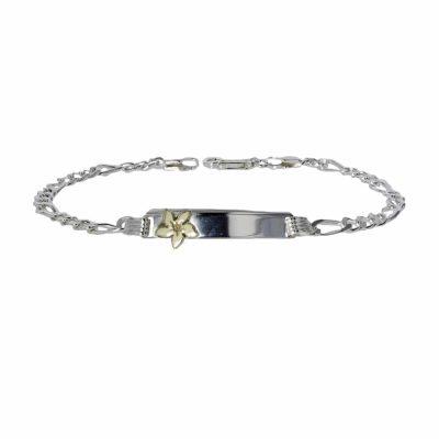 Sterling Silver ID Bracelet with Gold Burren Flower