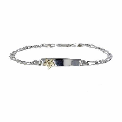 Burren Bracelets Sterling Silver ID Bracelet with Gold Burren Flower