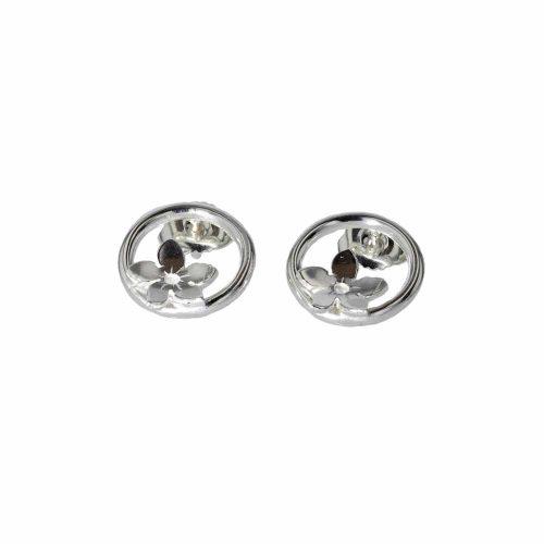 Burren Collection Sterling Silver Round Burren Flower Earrings