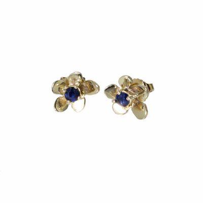 9ct. Yellow Gold Burren Flower Earrings, Sapphire Stone