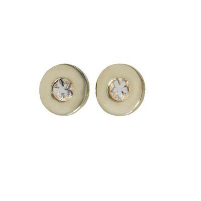 Burren Collection 9ct. Gold Round Burren Flower Earrings