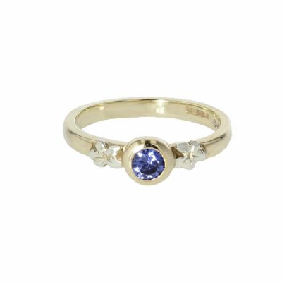 Burren Collection 9ct. Yellow Gold Burren Flower Ring with Tanzanite