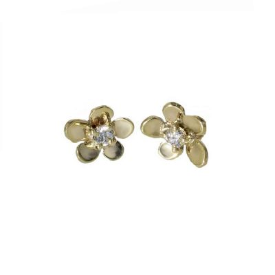 Burren Collection 9ct. Yellow Gold Burren Flower Earrings with CZ