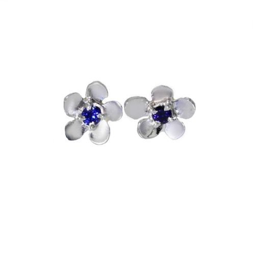 Burren Carousel 9ct. White Gold Burren Flowers Earrings with Sapphire