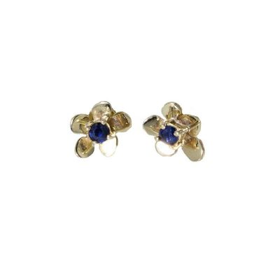 Burren Collection 9ct. Yellow Gold Burren Flower Earrings with Sapphire