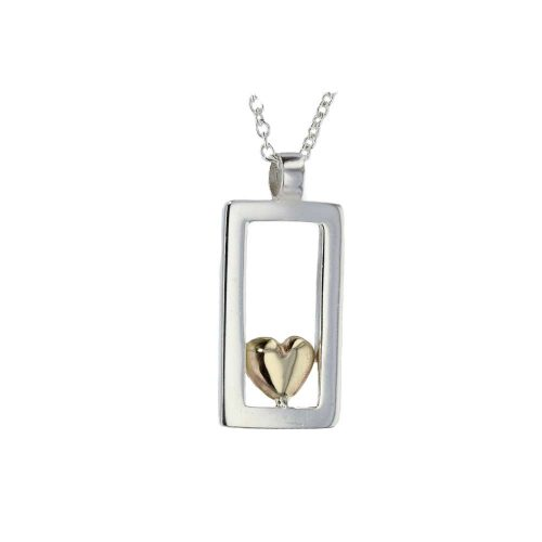 Jewellery Sterling Silver Rectangular Pendant with 9ct Yellow Gold Heart