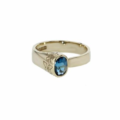Burren Carousel 9ct. Yellow Gold Ring with London Blue Topaz