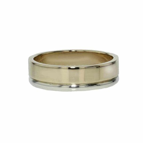 Gents Jewellery 9ct. Yellow Gold and White Gold Gents Wedding Ring
