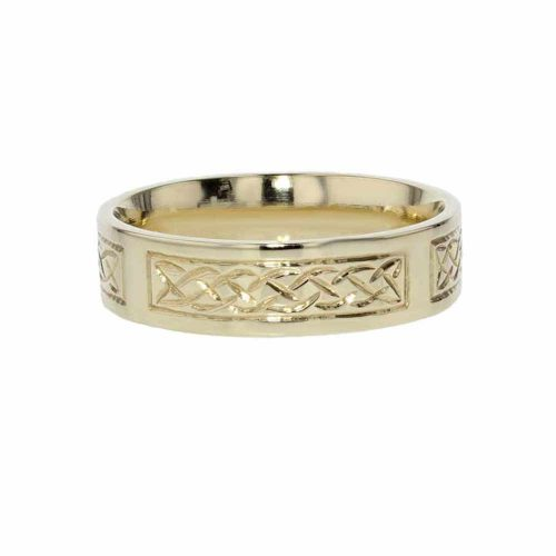 Wedding Rings for Him Hand Engraved 9ct. Yellow Gold Ring
