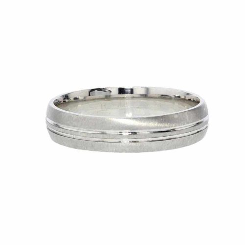 Wedding Rings for Him 9ct. White Gold Ring, Sweeping Polished Lines on Satin