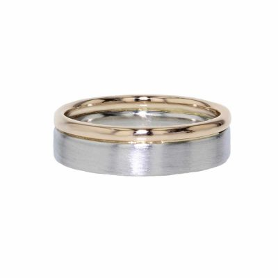 Gents Jewellery Platinum and Rose Gold Gents Wedding Ring