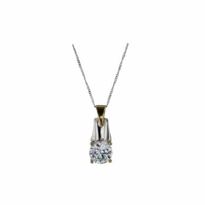 Gold Pendants White and Yellow Gold CZ Pendant
