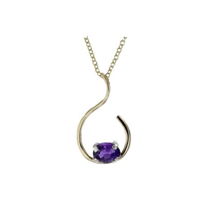 Gold Pendants 9ct. Yellow Gold Amethyst Wave Pendant