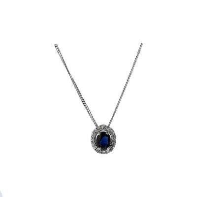Gold Pendants 9ct. White Gold Sapphire and Diamond Pendant