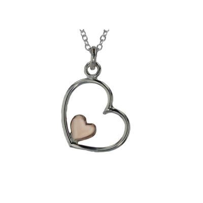 Jewellery Sterling Silver and Rose Gold Heart Pendant
