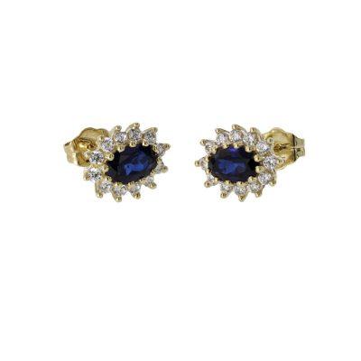 Earrings 9ct. Yellow Gold, Sapphire & CZ Earrings