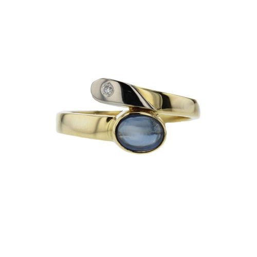 Dress Rings 18ct. Yellow and White Gold Ring with Cabochon Sapphire