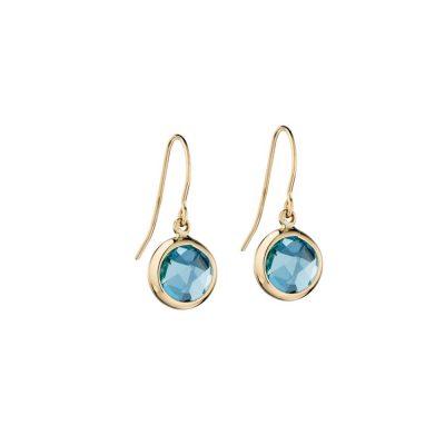 Earrings 9ct Gold Earrings with Blue Topaz