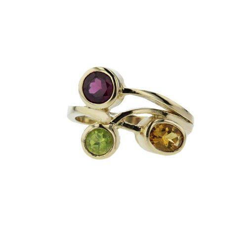 Dress Rings 9ct. Gold Ring with Citrine, Peridot & Rhodolite Garnet