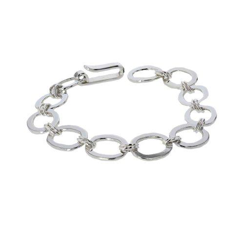 Jewellery Handmade Flat & Oval Link Sterling Silver Bracelet