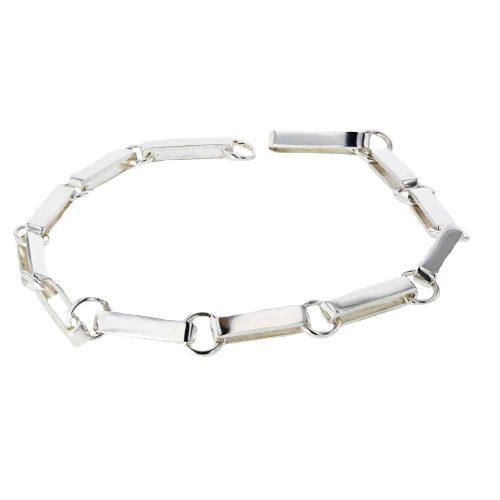 Jewellery Handmade Sterling Silver Flat Link Bracelet
