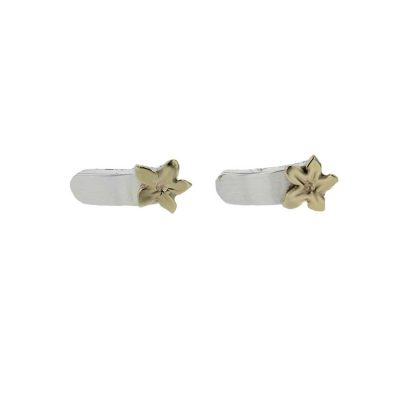 Burren Collection Sterling Silver Earrings with 9ct Gold Burren Flower