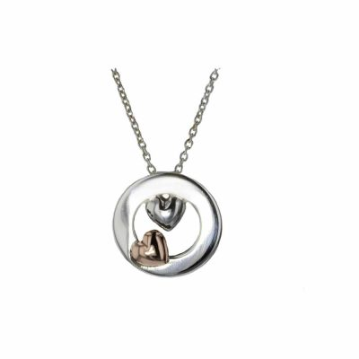 Jewellery Sterling Silver & Rose Gold Heart Pendant
