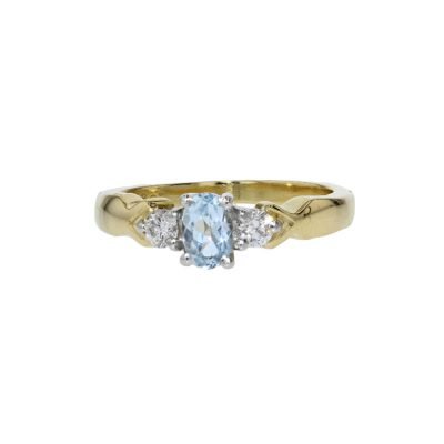 Dress Rings 18ct. Yellow Gold Aquamarine & Diamond Ring