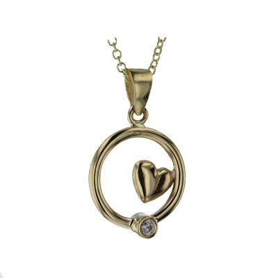 Gold Pendants 9ct. Gold Pendant with Inset Heart