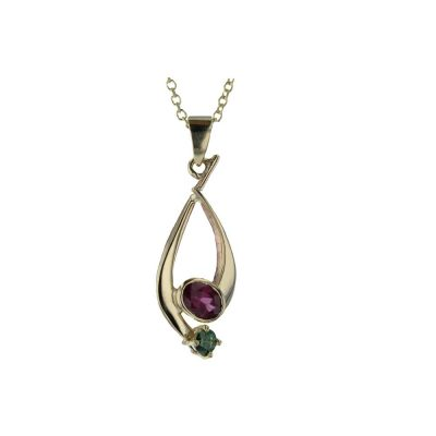 Gold Pendants 9ct. Yellow Pendant with Rhodolite Garnet & Green CZ