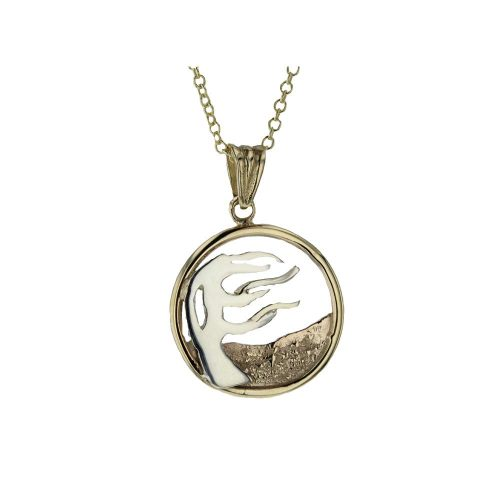 Burren Collection 9ct. Yellow and White Gold Windswept Burren Tree Pendant