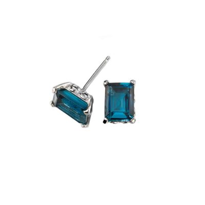 Earrings Emerald Cut London Blue Topaz Earrings