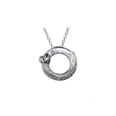 Jewellery Sterling Silver Circular Pendant with Textured Design